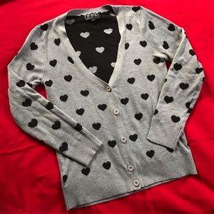Super cute gray & black heart cardigan sweater